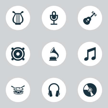 Icônes multimédias avec harpe, guitare, haut-parleur et autres éléments musicaux. Icônes multimédia d'illustration vectorielle isolée.