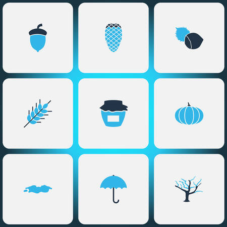 Autumn icons colored set with wheat, pine cone, tree and other acorn elements. Isolated vector illustration autumn icons.