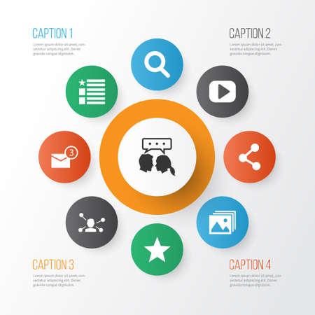 Icone social impostate con preferiti, foto, comunicazione e altri elementi di relazione. Icone sociali di illustrazione vettoriale isolato. Vettoriali