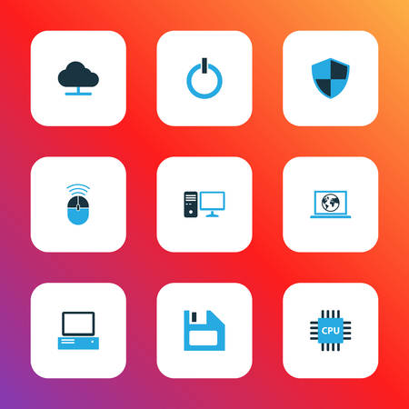 Hardware icons colored set with online cloud, cpu, start button and other storage elements. Isolated vector illustration hardware icons.
