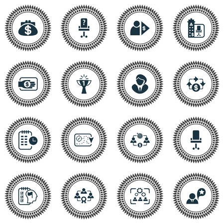 Job icons set with effective teamwork, success, long-term plan and other teamwork   elements. Isolated vector illustration job icons.