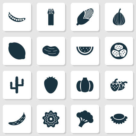 Vegetable icons set with lychees, watermelon, kiwano and other corn  elements. Isolated vector illustration vegetable icons.