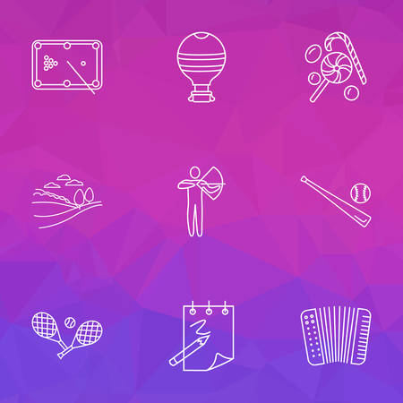 Hobby icons line style set with hot air balloon, archery, tennis and other batting   elements. Isolated vector illustration hobby icons.