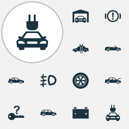 Auto icons set with not key, foglight, cabriolet and other repairing