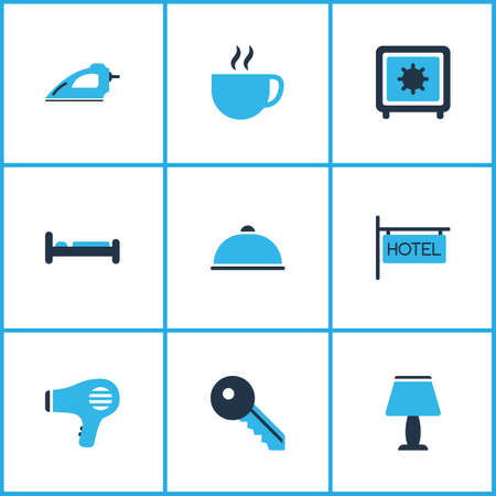 Vacation icons colored set with hotel sign, safe, iron and other drink  elements. Isolated vector illustration vacation icons. Banque d'images