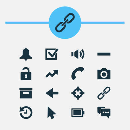 Interface icons set with history, link, remove and other increase   elements. Isolated vector illustration interface icons. 版權商用圖片