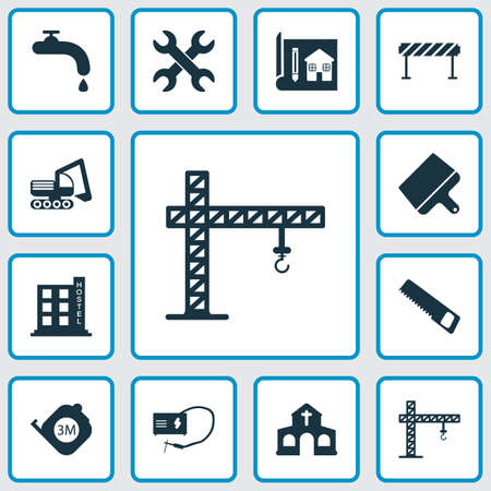 Construction icons set with crane, putty knife, roulette and other blueprint  elements. Isolated vector illustration construction icons. Illustration