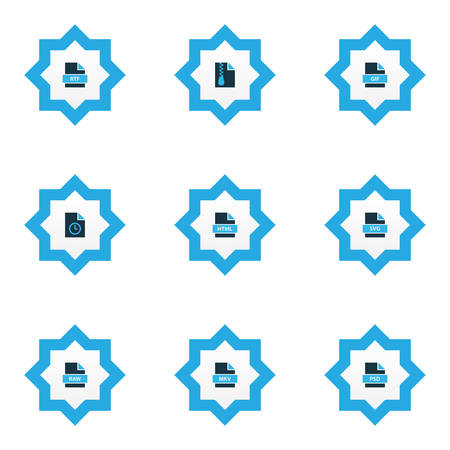 File icons colored set with file HTML, file gif, temporary file and other photoshop   elements. Isolated vector illustration file icons.