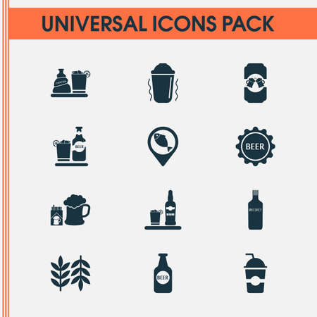 Alcohol icons set with beer bottle, geolocation, beer with cigarettes and other fish location   elements. Isolated vector illustration alcohol icons.