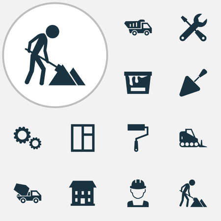 Building icons set with color can, tipper, wall painter and other service 