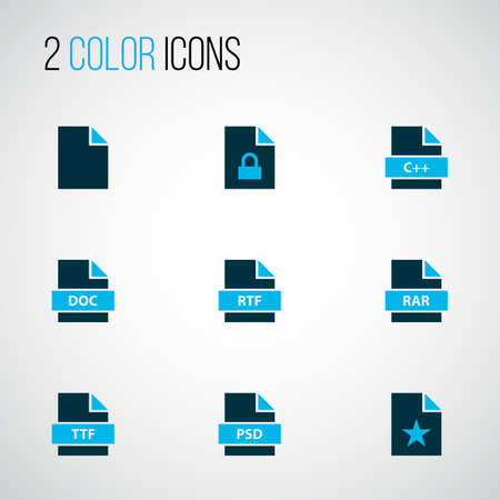 File icons colored set with locked file, text, favorite file and other padlock   elements. Isolated vector illustration file icons. Illustration