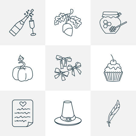 Thanksgiving icons line style set with honey, wish list, feather and other plume  elements. Isolated  illustration thanksgiving icons.