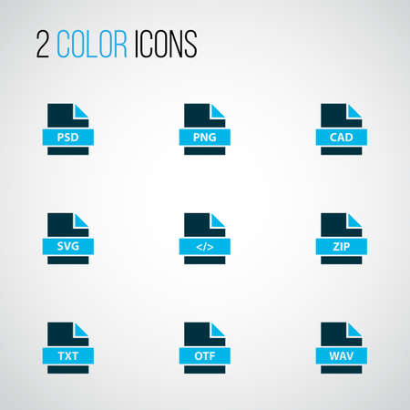 Types icons colored set with file zip, file png, file cad and other photoshop   elements. Isolated vector illustration types icons.