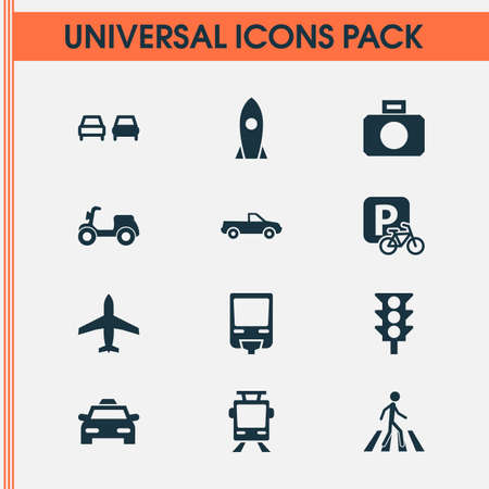 Transportation icons set with no overtaking, tram, control and other streetcar