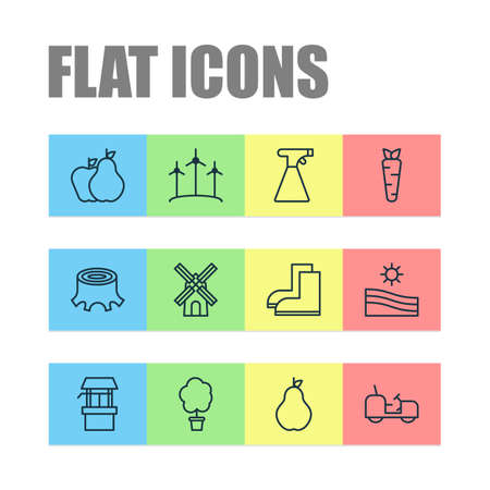 Garden icons set with draw well, stump, pear and other gardening shoes elements. Isolated vector illustration garden icons. Vektoros illusztráció