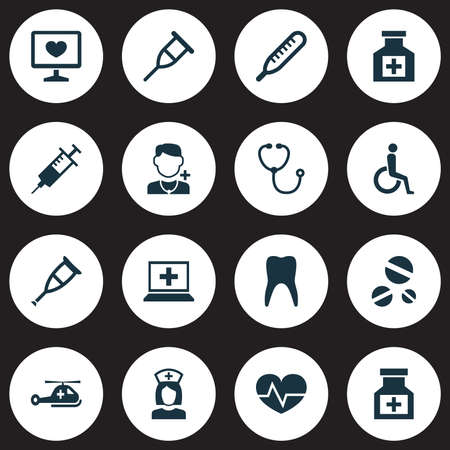 Antibiotic icons set with teeth, thermometer, drug and other injection