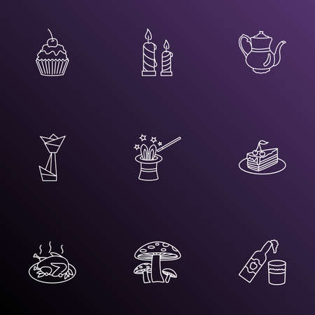 Festival icons line style set with origami, cooked turkey, mushroom and other paraffin  elements. Isolated  illustration festival icons.
