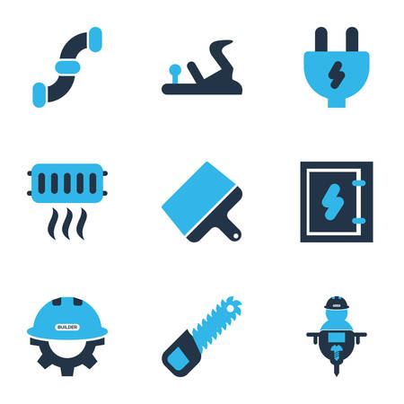 Industry icons colored set with man with drill, builder, heating and other workman   elements. Isolated vector illustration industry icons. Иллюстрация