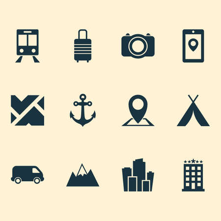 Journey icons set with hotel, mountains, city and other metropolis  elements. Isolated  illustration journey icons.