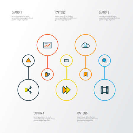 Multimedia icons colored line set with eject, search, video and other randomize  elements. Isolated  illustration multimedia icons.