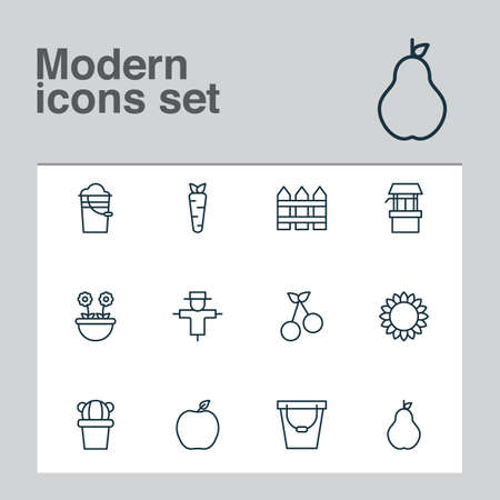 Farm icons set with pail, fence, carrot and other barrier