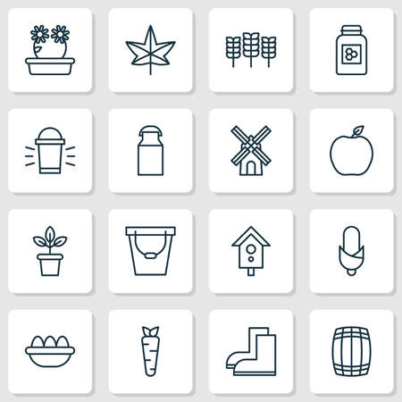 Farm icons set with peony, peach, honey and other birdhouse elements. Isolated vector illustration farm icons.