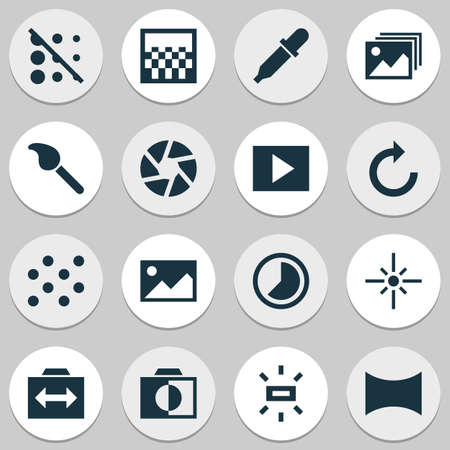 Photo icons set with slideshow, shutter, timelapse and other reload  elements. Isolated  illustration photo icons.