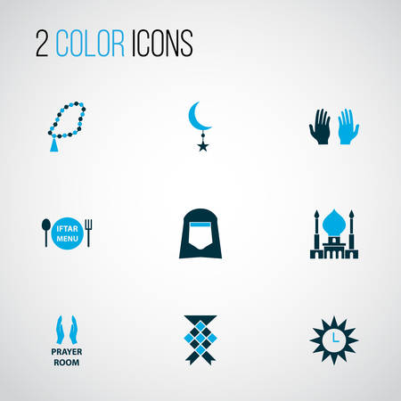 Religion icons colored set with ketupat, menu, shawl and other crescent