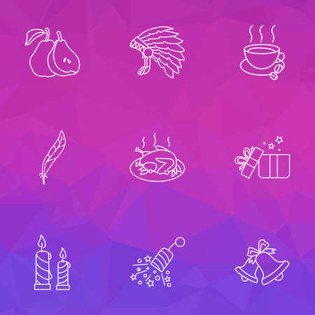 Festival icons line style set with bells, thanksgiving costume, gifts and other jingle  elements. Isolated  illustration festival icons.