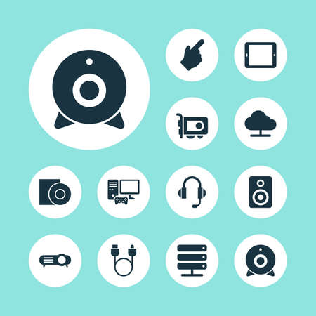 Digital icons set with disc, server, joystick and other palmtop  elements. Isolated  illustration digital icons. 免版税图像