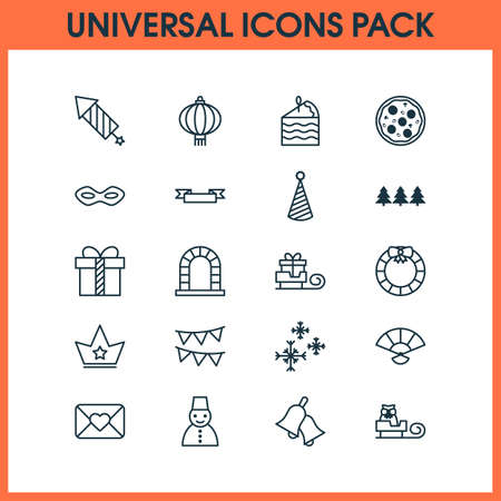 Happy icons set with crown, festive mask, close envelope and other cake piece  elements. Isolated vector illustration happy icons.