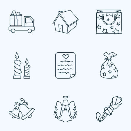 Icons line style set with bells, gift paper bag, angel and other home  elements. Isolated  illustration  icons.