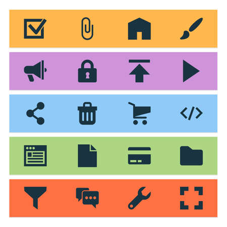 Interface icons set with announcement, brush, trash can and other shopping
