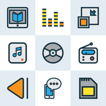 Music icons colored line set with multimedia, audio mixer, cellphone and other tuner