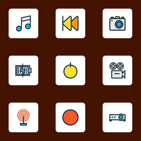 Music icons colored line set with previous, projector, start and other camera  elements. Isolated  illustration music icons.