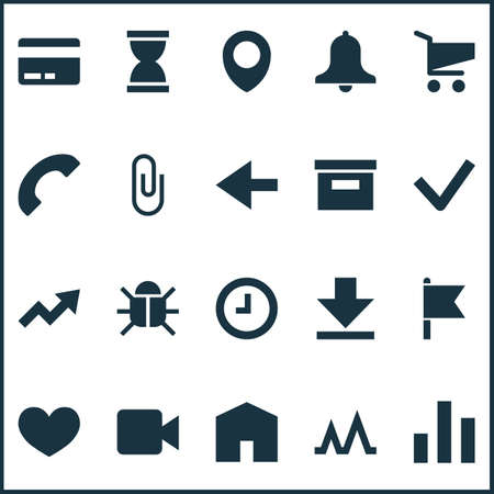 User icons set with back, bug, video and other watch    elements. Isolated vector illustration user icons.