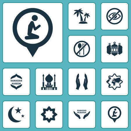 Religion icons set with palms, worship, islamic and other nacht elements. Isolated vector illustration religion icons.