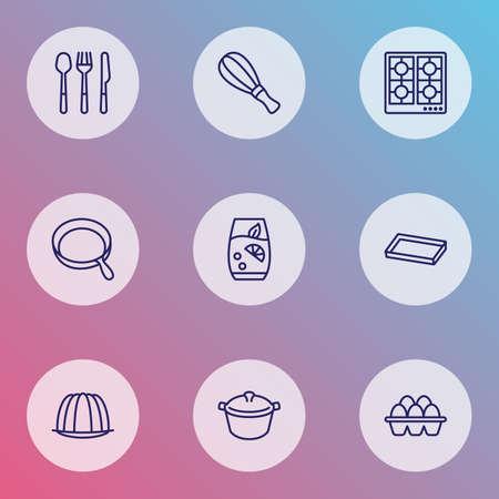 Cucina icone stile linea impostato con uova, limonata, frusta e altri elementi del forno. Icone di cottura illustrazione vettoriale isolato.