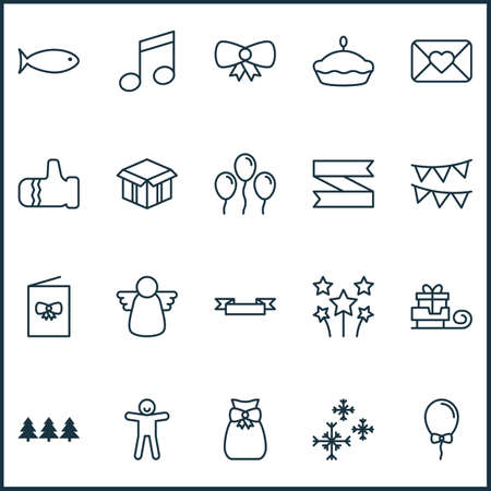 Holiday icons set with christmas angel, poster, trees and other placard