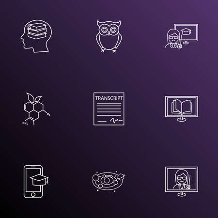 Education icons line style set with informatics, self study, astronomy and other solar system
