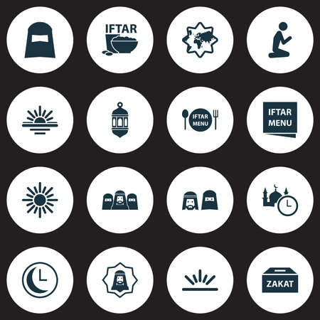Holiday icons set with fajr, people, time and other time elements. Isolated vector illustration holiday icons.