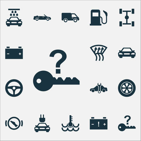 Auto icons set with temperature, chassis, caution and other press brake pedal elements. Isolated illustration auto icons. Imagens