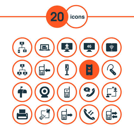 Communication icons set with mobile data exchange, web, mailbox and other computing system  elements. Isolated  illustration communication icons.