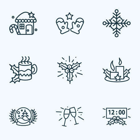 Happy icons line style set with christmas candles, snowflake, snow globe mitten