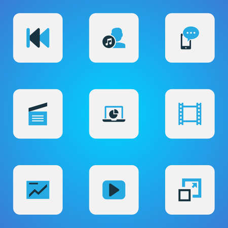 Multimedia icons colored set with begin, movie clap, artist and other maximize  elements. Isolated vector illustration multimedia icons.