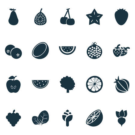 Vegetable icons set with lemon, artichoke, apple and other coco  elements. Isolated  illustration vegetable icons.