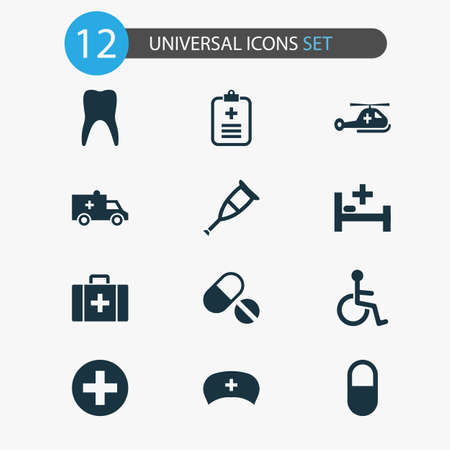 Antibiotic icons set with data, case, brougham and other spike