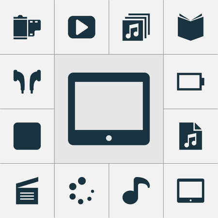 Music icons set with albums, tablet, energy and other learning