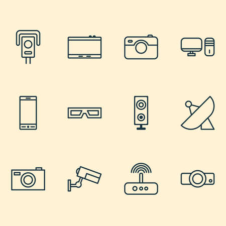 Gadget icons set with projector, photo apparatus, photographing and other digital camera  elements. Isolated  illustration gadget icons.