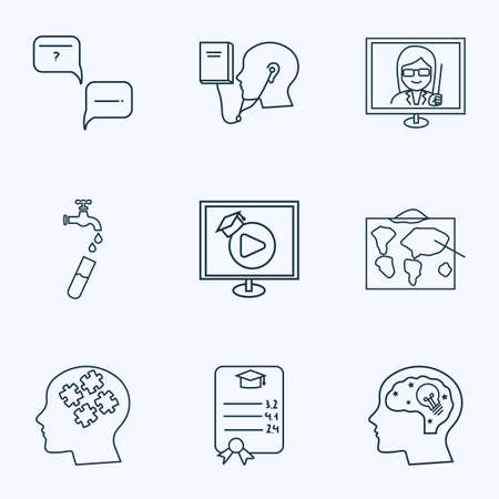 School icons line style set with hydrology, geography, question with answer and other intellect   elements. Isolated vector illustration school icons.